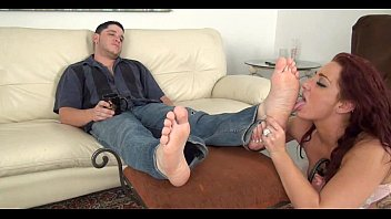 Girls licking male feet