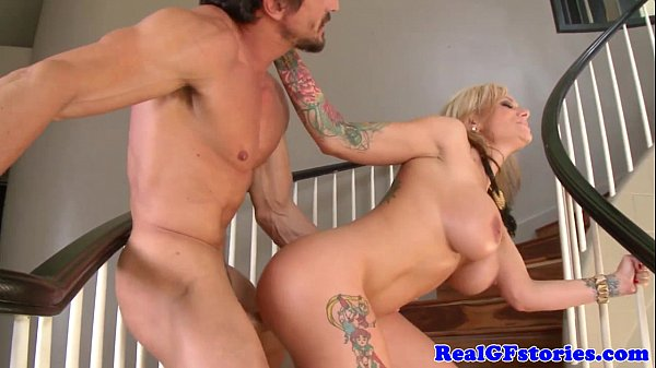 Alternative tattooed milf banged on staircase 8