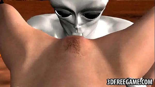 Busty brunette licked fucks alien 3d