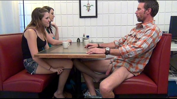 Daughter gives footjob and bj to not her dad under the table 8