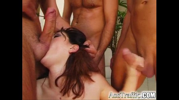 12 min Hungry babe sucking three men out and getting banged from her ass