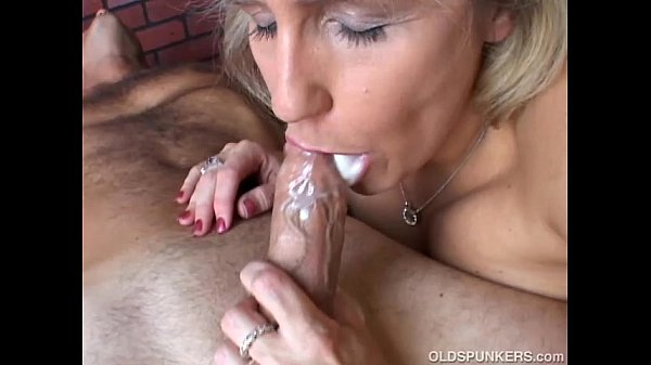 Not meaningful. Mature women giving slow blowjob