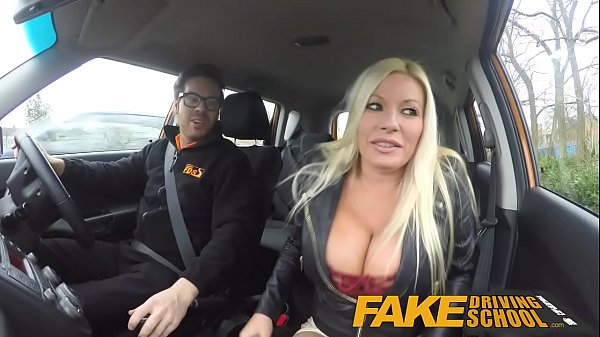 Fake driving school squirting orgasm busty milf takes creamp 6