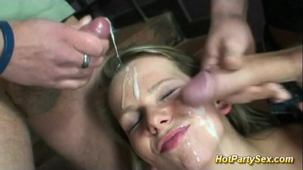 Cute Teen Enjoys Her First Gangbang Bukkake Party -3261
