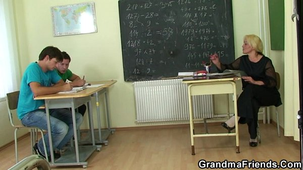 image Two horny pupils bang old teacher