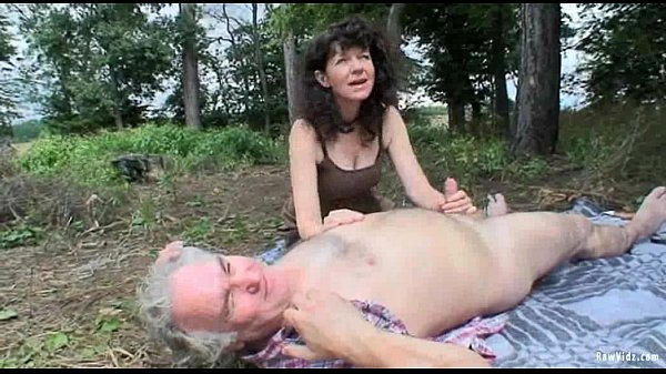 Couple having sex outdoors