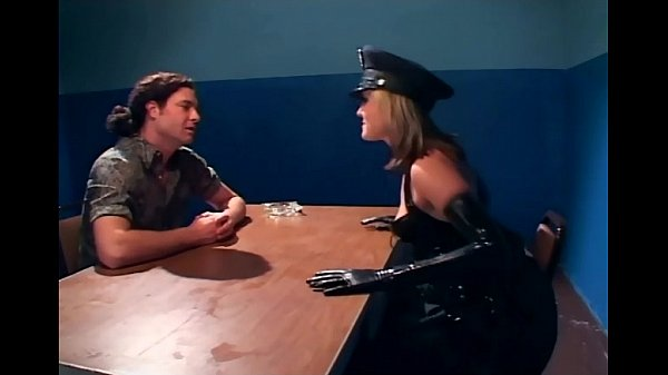 Naughty female cop fucking in latex lingerie 5