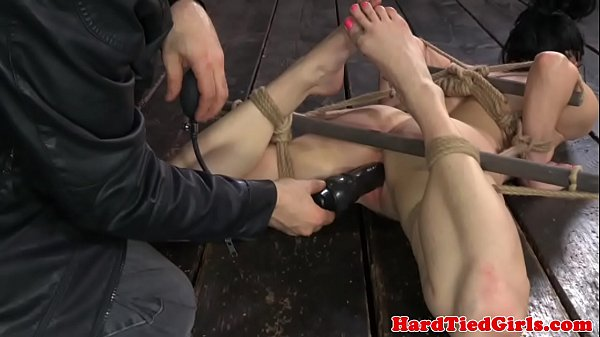 Hogtied subs clit rammed with toys