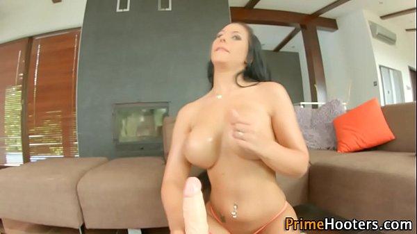 Busty slut rides dildo