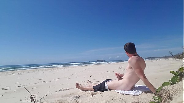 Jerking off on beach