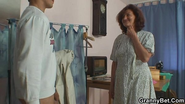 Sewing granny takes his cock 8