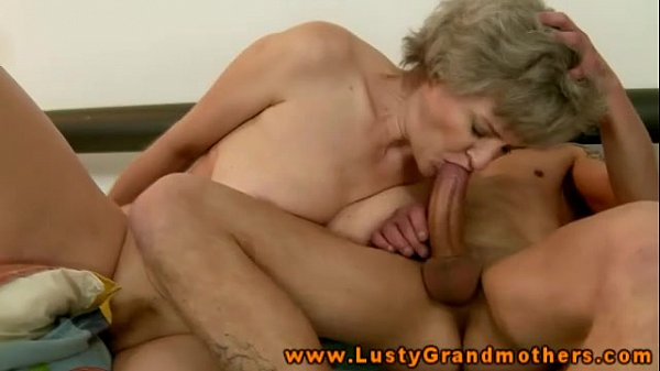 Riding blonde old grandma sucking another dick 6