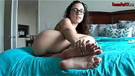 Captured video footjob cum cleanup