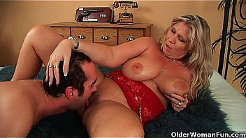 Natural titted German lady takes a huge cock