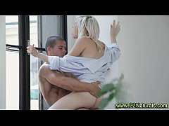 Tiny blonde stunner gets creamy explosion