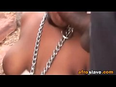 Submissive African girl gets tied to tree and f...