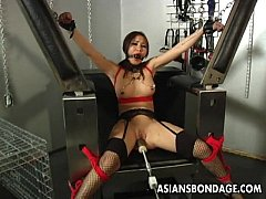 Busty brunette getting her wet pussy machine fu...