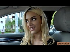 Seductive teen blonde hottie hitchhikes and get...