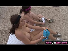 Girls Out West - Busty lesbians breast massage