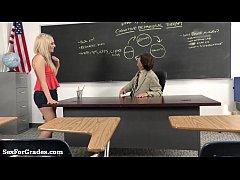 hot blonde schoolgirl sucks and fucks her teacher