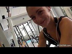 Small German Teen Seduce Stranger to Fuck in Gym