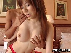 Asian redhead getting fucked deep in her red li...