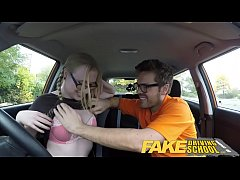Fake Driving School pigtail cutie with hairy te...