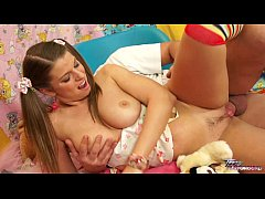 Blue eyed teen in pigtails and socks devours a ...