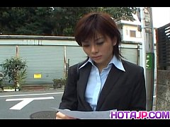 Yukino in uniform gives blowjob to mailman and ...