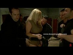 Woman gets ripped by several horny guys with bi...