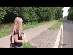 German Skinny Street Hooker get fuck Outside wi...