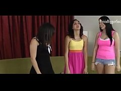 3 girls play game dice game, loser strips