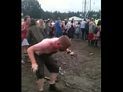 LOL. Man slides into girl peeing. Crazy & funny.