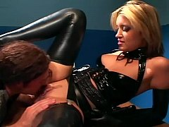 Uniformed babe sex in gloves and latex lingerie