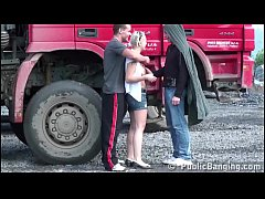 Cute young chick public sex threesome with 2 gu...