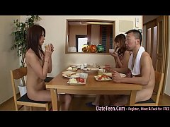 2 girls n 2 guys get naked in living room  For ...