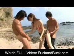 Busty Asian AV Idol Threesome