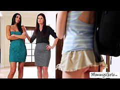 Wild and happy threesome lesbian sex with the s...