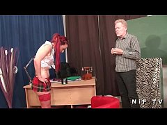 French redhead slut gets her ass fucked in thre...