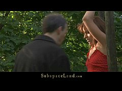 Lora restrained in the woods for being spanked ...