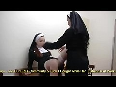 Two Naughty Nuns Fuck Each Other With Carrots