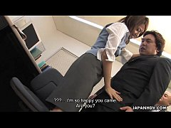 Asian office worker gretting the CEO with her p...