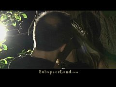 Doris Ivy tied up by a tree and spanked