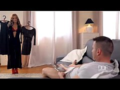 dominica phoenix gives a hot footjob in red stockings