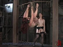 Hanged babe fucked with dick on a stick