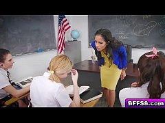 Naughty lesbian students fuck revenge for teacher