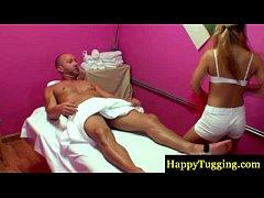 Blonde asian masseur sucking his cock