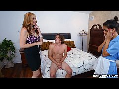 Busty stepmom shows young  teens a thing or two