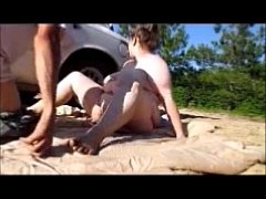 whore wife rides her husband dick outside and get creampie