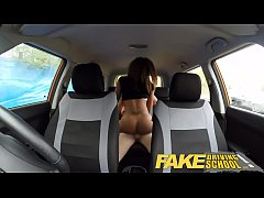 Fake Driving School young ebony enjoys creampie...
